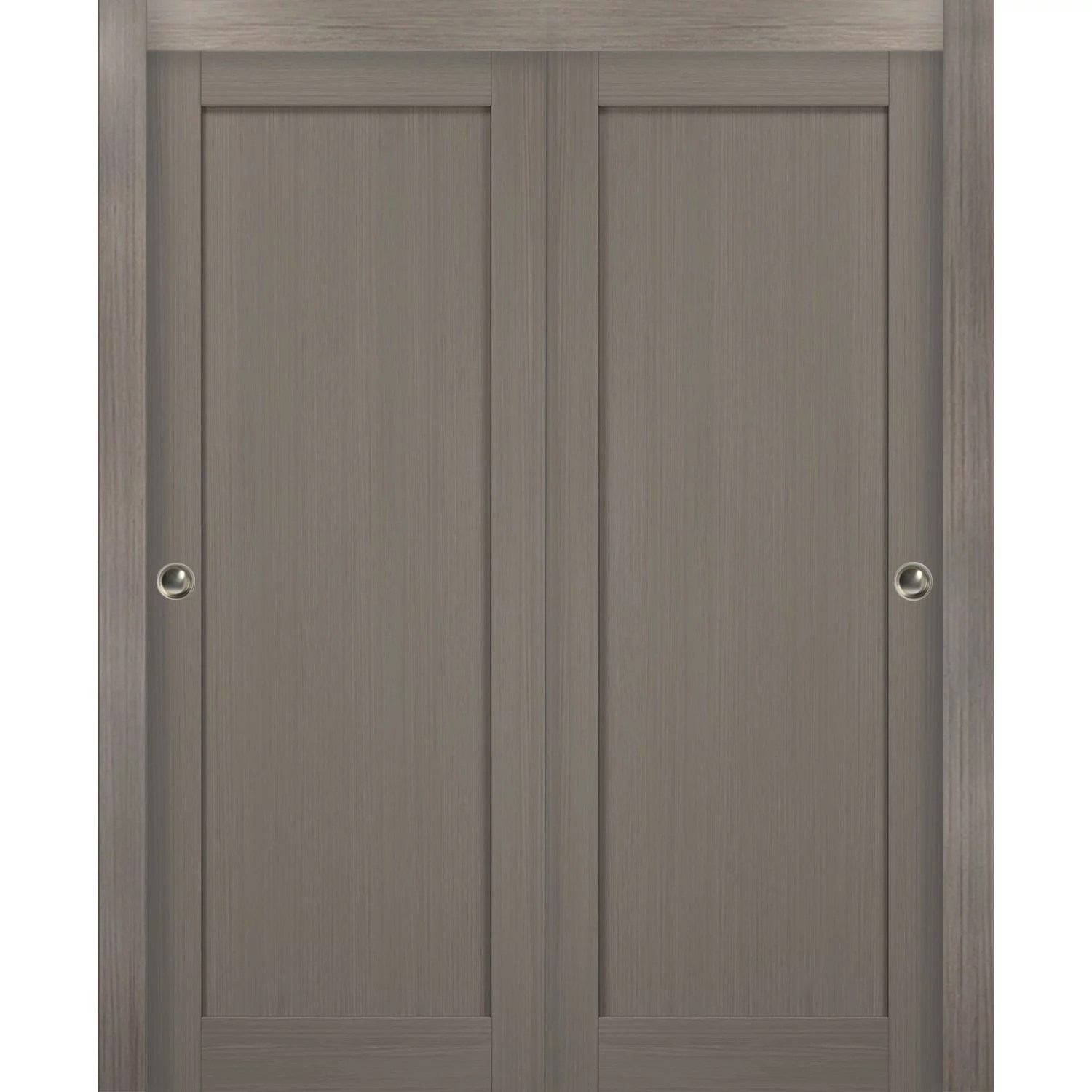 sliding closet bypass doors 60 x 80 with hardware quadro 4111 grey ash sturdy top mount rails moldings trims set kitchen wooden solid bedroom