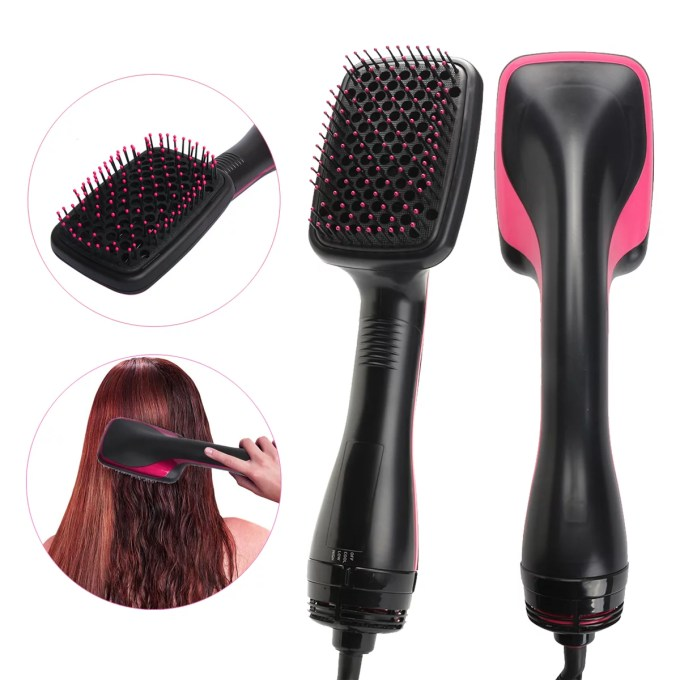 salon beauty, one-step hair dryer & styler smoothing , 2 in 1 ionic hot air hair straightener brush, negative ion generator for all hair types