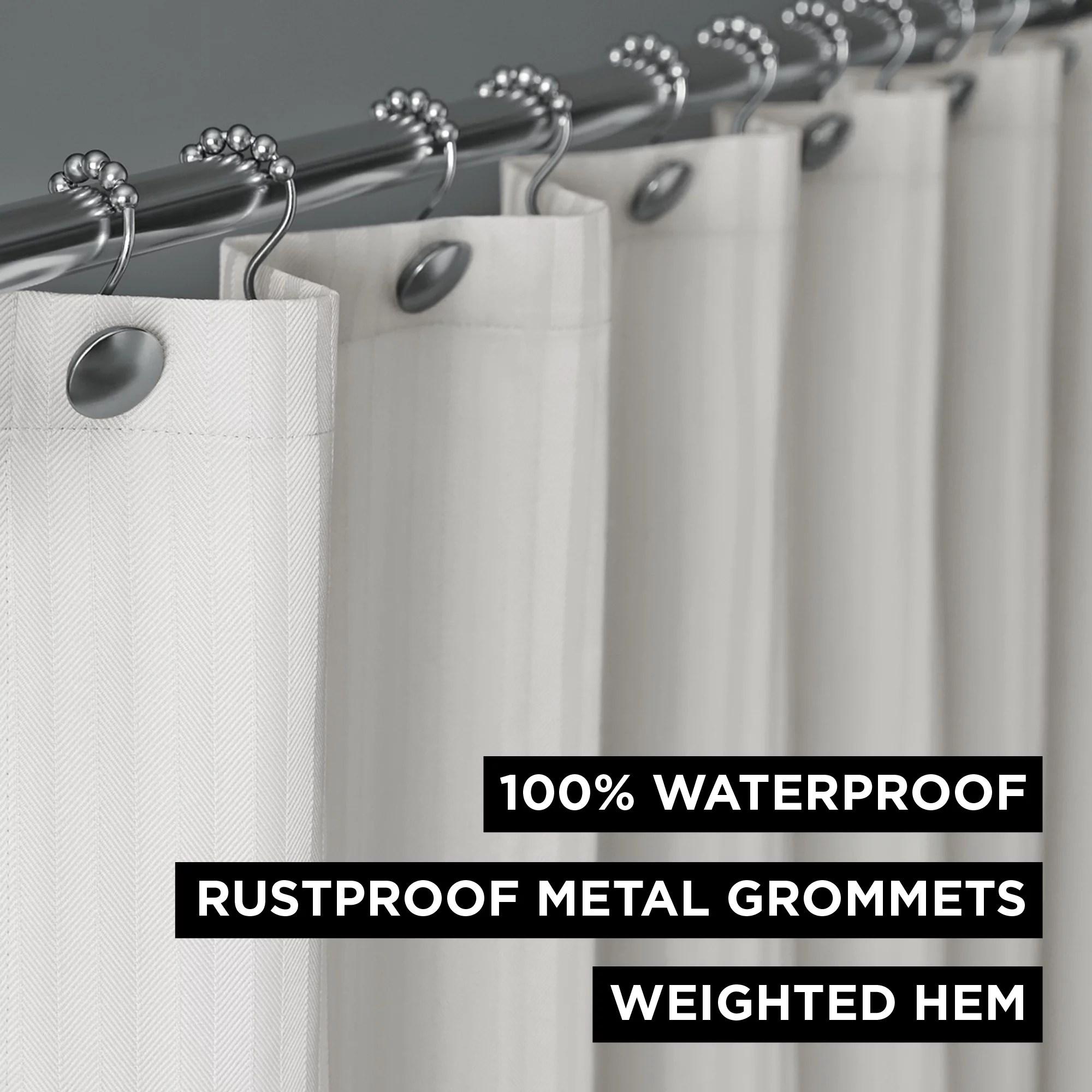hotel style herringbone stripe 100 waterproof shower curtain or liner beige walmart com