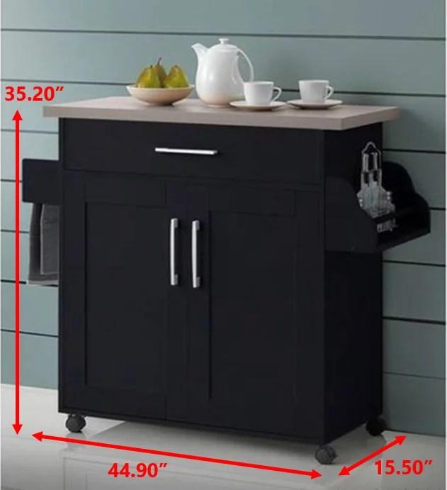 hodedah kitchen cart with spice rack plus towel holder chocolate grey