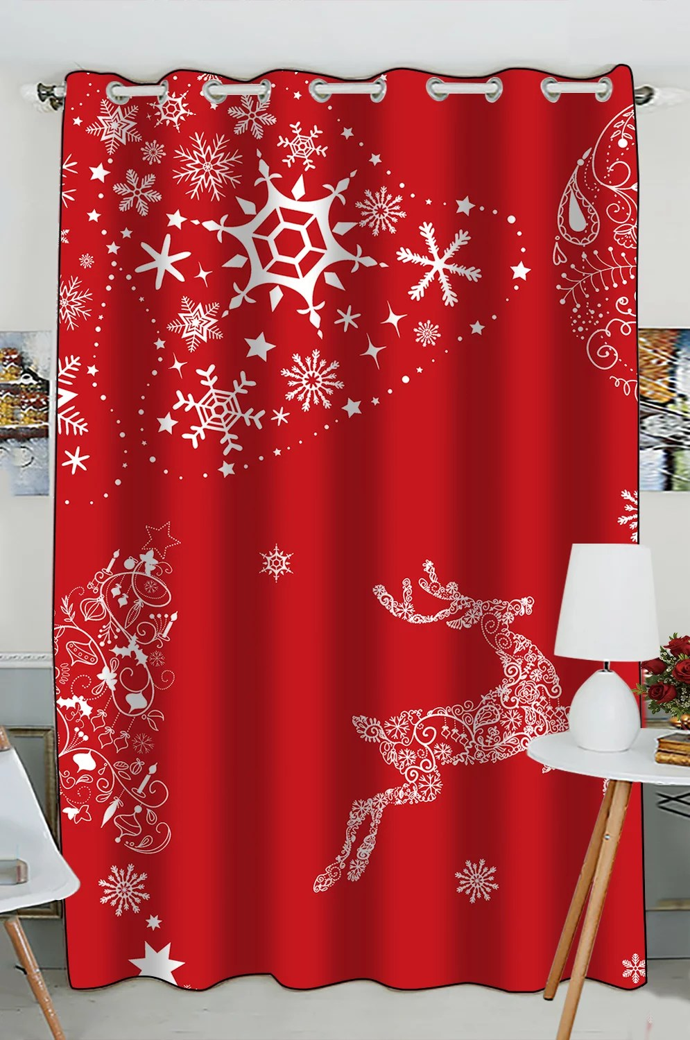 gckg christmas window curtain xmas merry christmas reindeer red grommet blackout curtain room darkening curtains for bedroom and kitchen size 52 w x