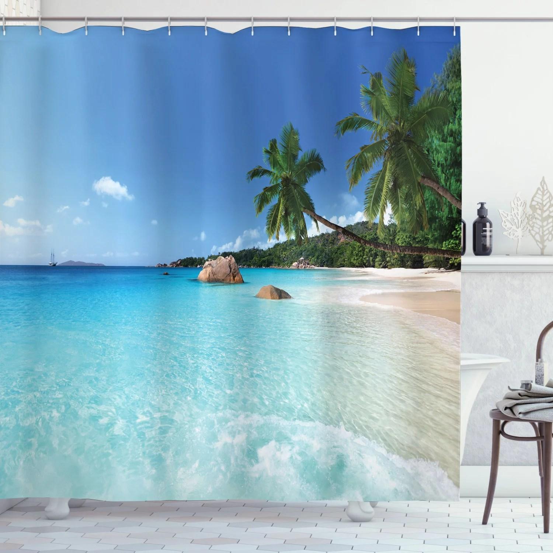 ocean decor shower curtain set anse lazio beach at praslin island surf beach bathroom accessories 69w x 70l inches by ambesonne