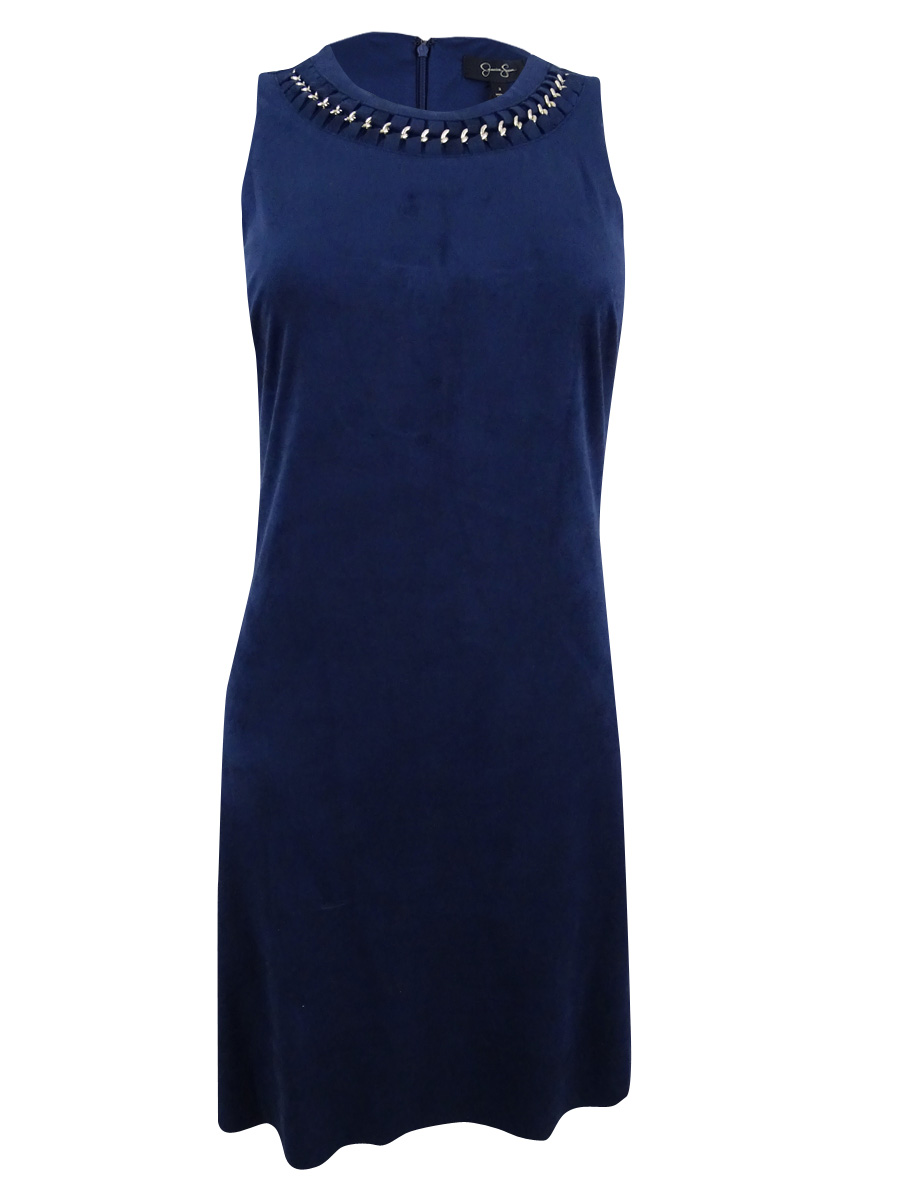JESSICA SIMPSON Womens Navy Chain Necklace Sleeveless Crew Neck Mini A-Line Party Dress  Size: 2