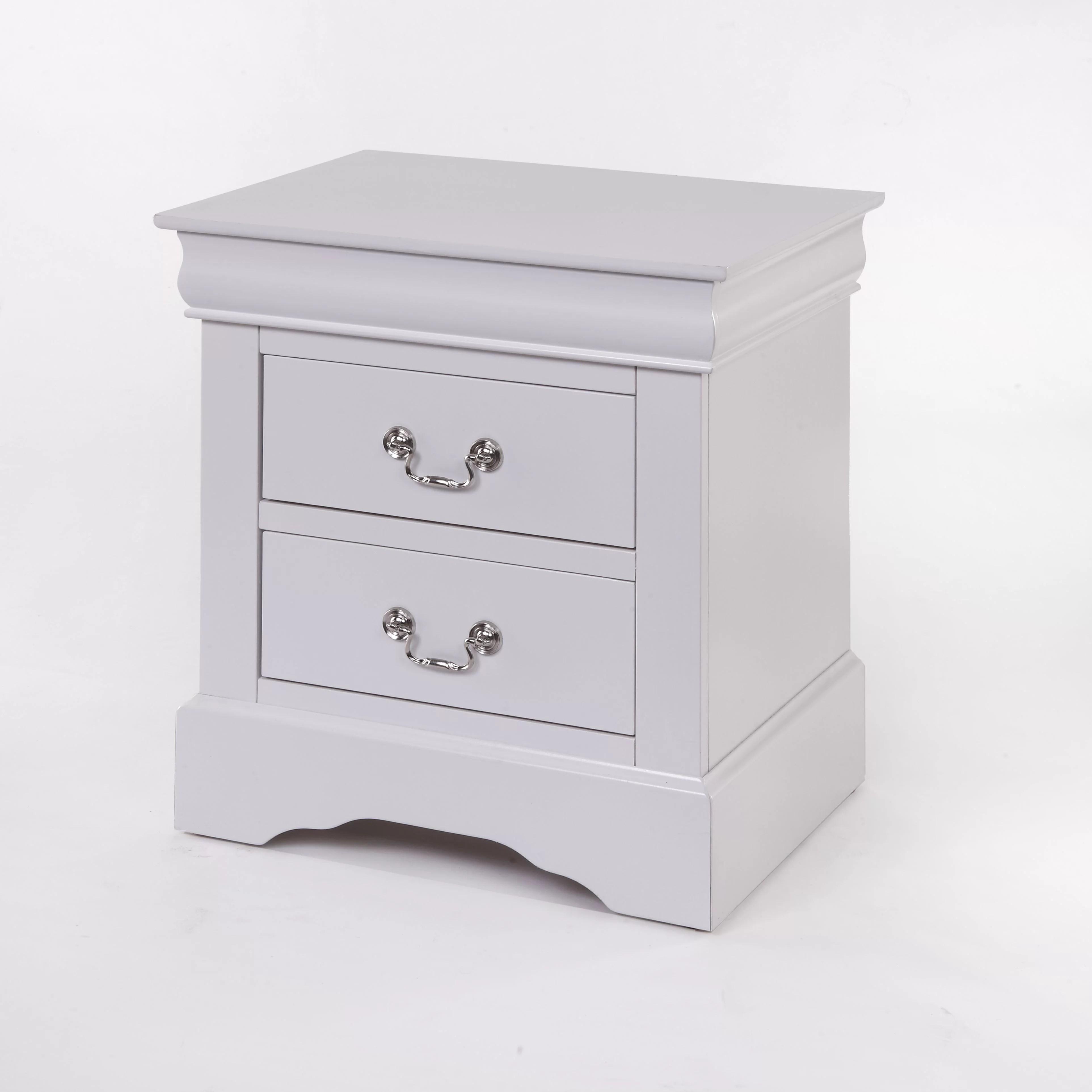 acme furniture louis phillipe iii 2 drawer nightstand white