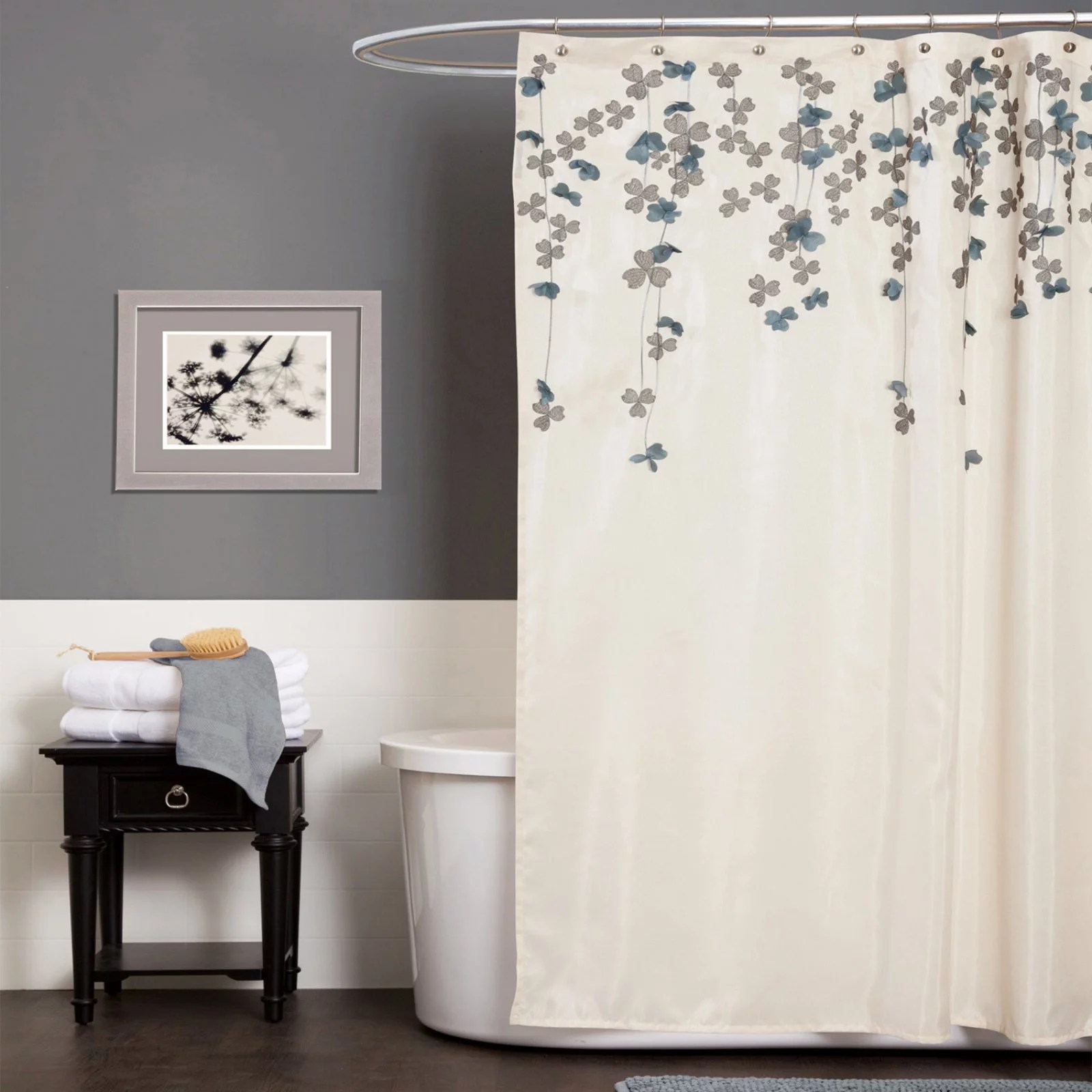 lush decor flower drops floral polyester shower curtain 72x72 ivory blue single