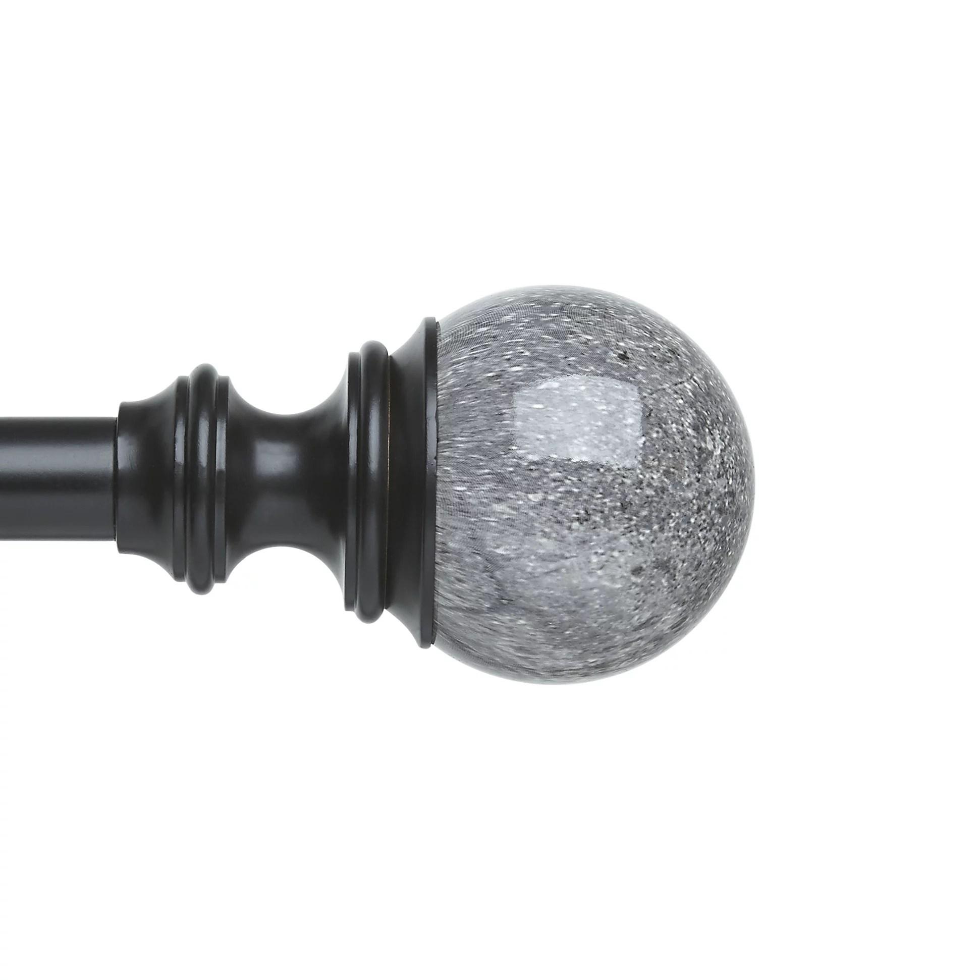 better homes gardens 120 marbled ball 3 4 adjustable curtain rod black walmart com