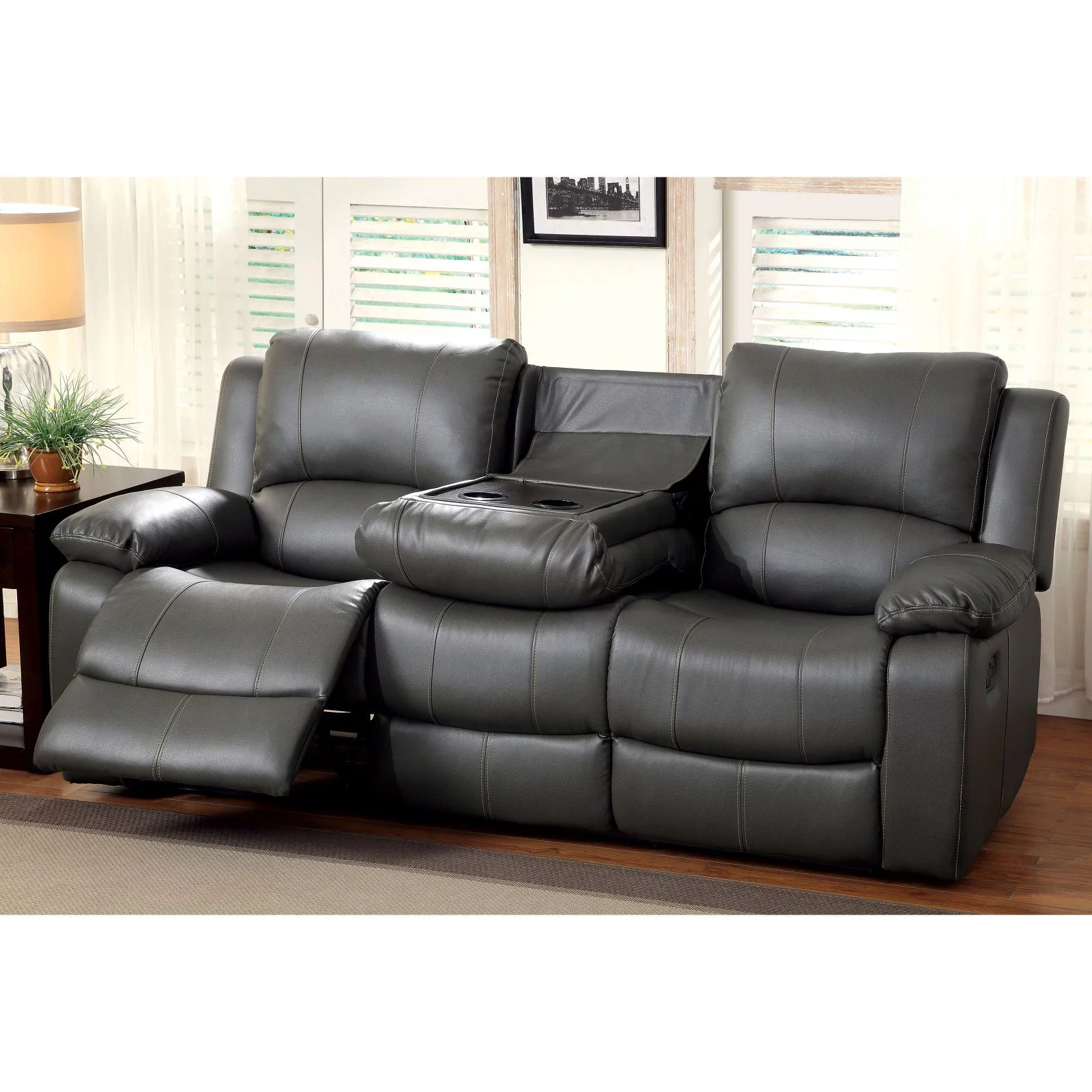 furniture of america rathbone recliner sofa with cup holders walmart com