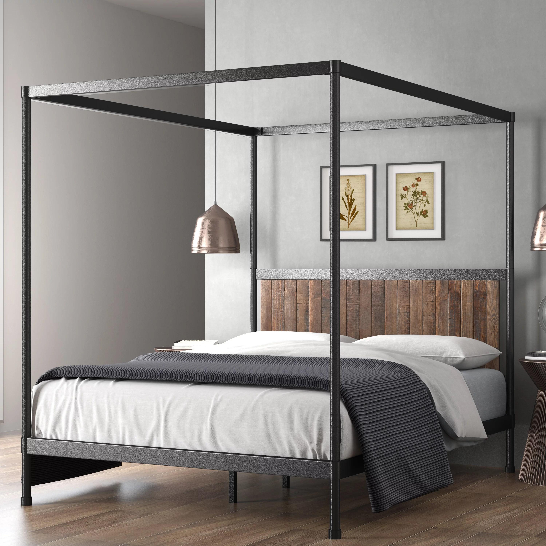 Zinus Wesley 72 Metal And Wood Canopy Platform Bed Queen Walmart Com Walmart Com