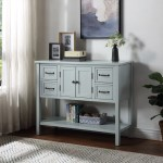 43 Console Table With Storage Drawer Shelf Narrow Buffet Cabinet Sideboard Accent Entryway Console Sofa Table Farmhouse Wooden Foyer Hallway Couch Table For Living Room Entrance Blue A520 Walmart Com Walmart Com