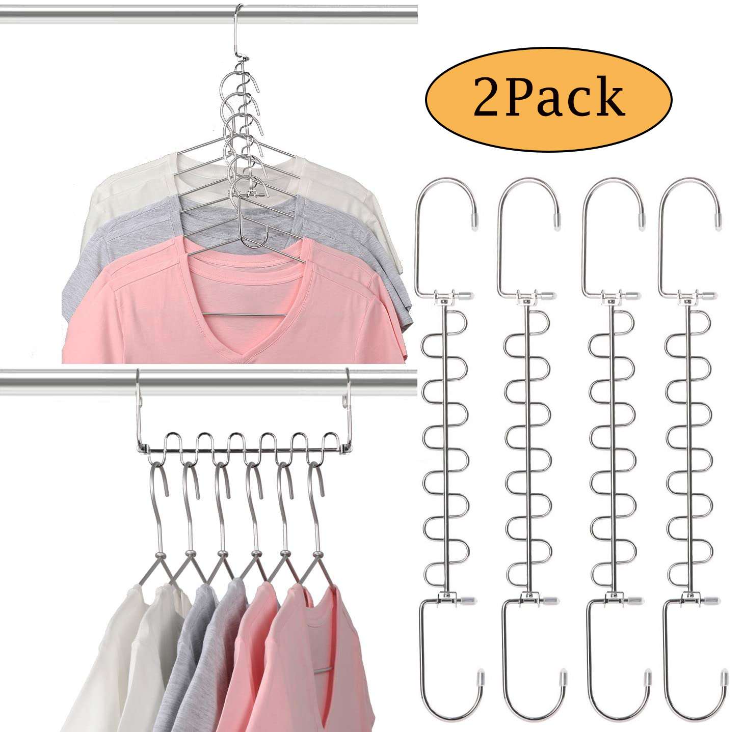 LNKOO 2 Pack DAY Magic Hangers Space Saving Hangers for ... on Closet Space Savers Walmart  id=98307