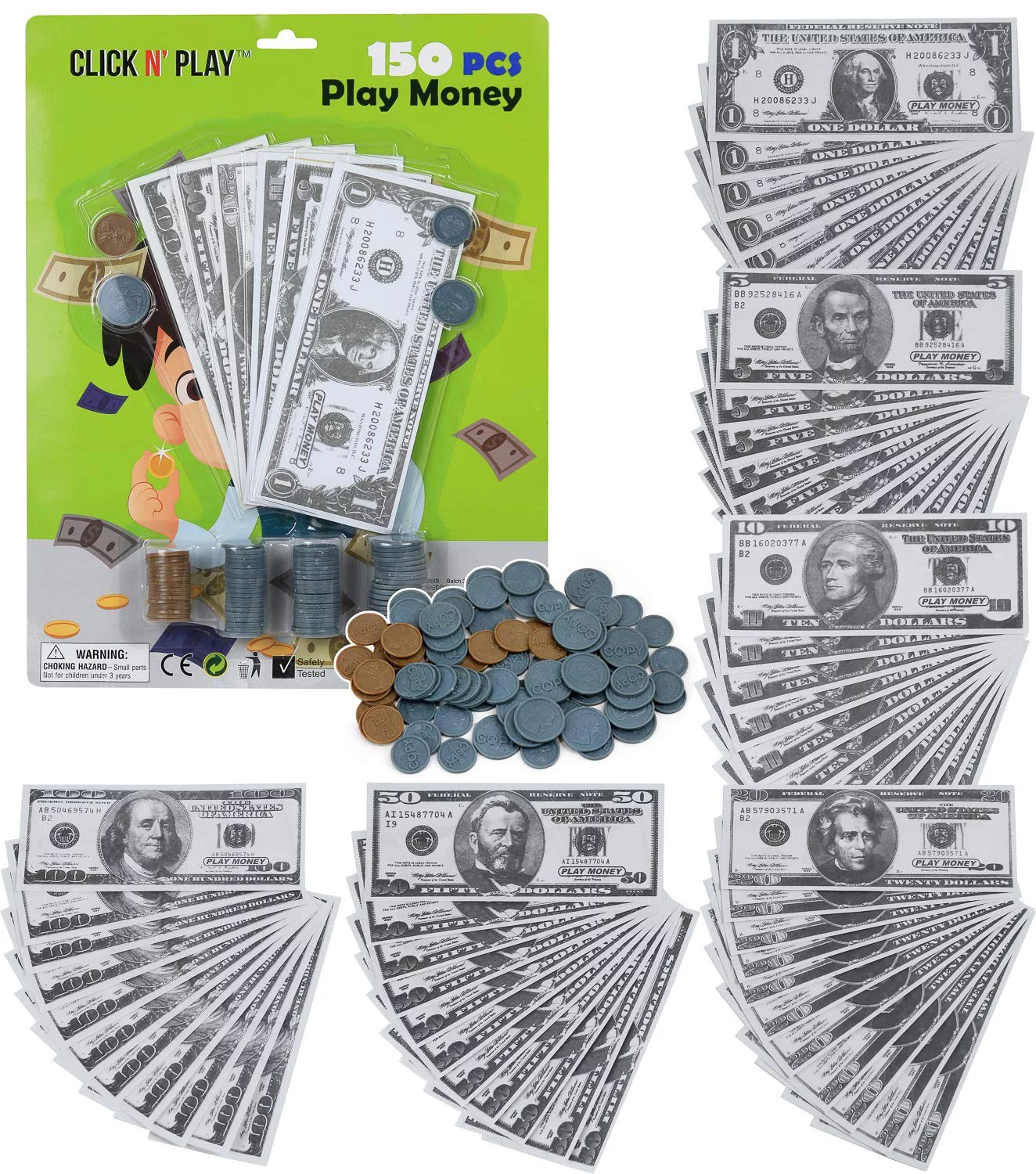 Click N Play Pretend Play Money For Kids Realistic Bills