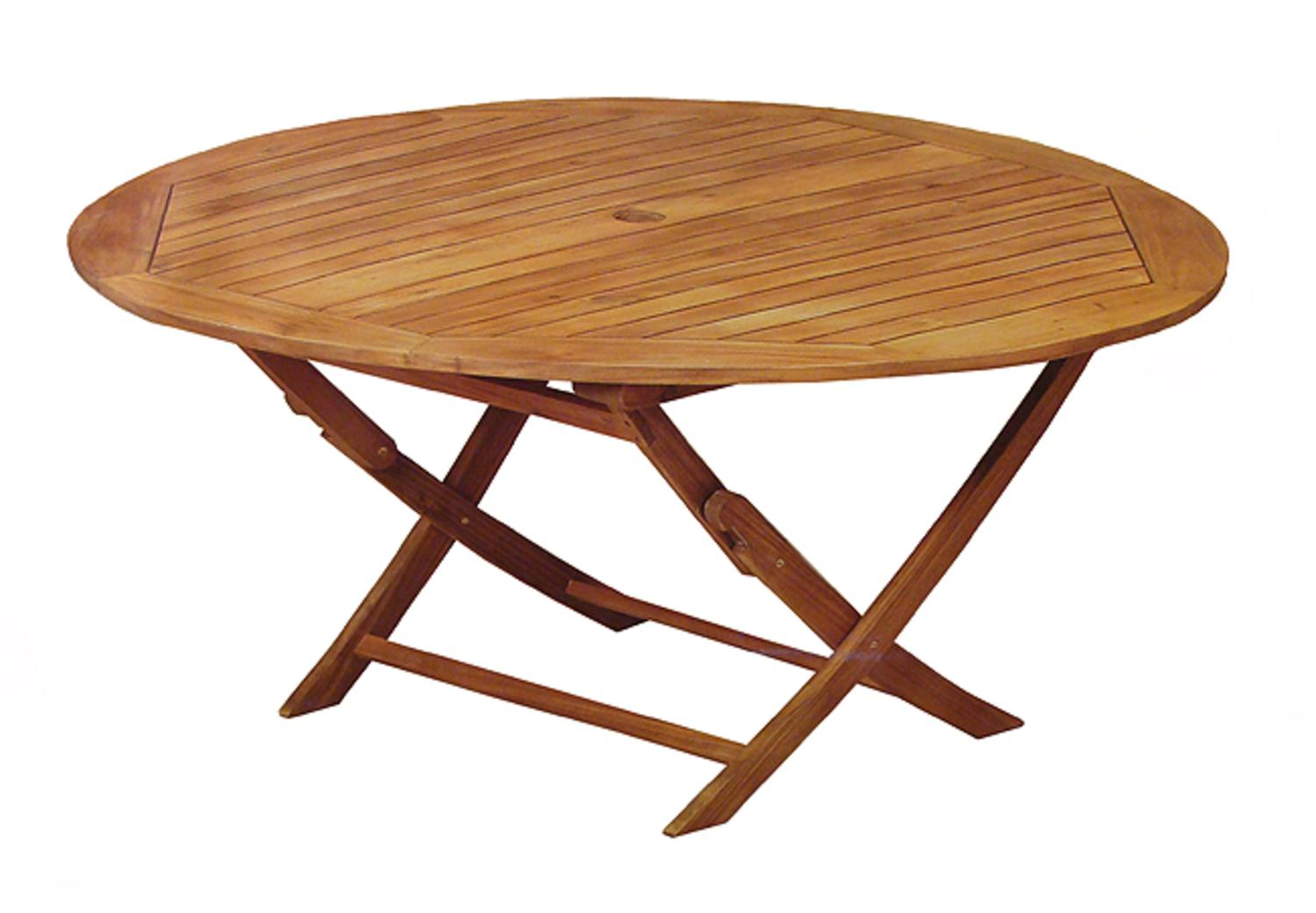 47 round outdoor acacia wood folding patio dining table