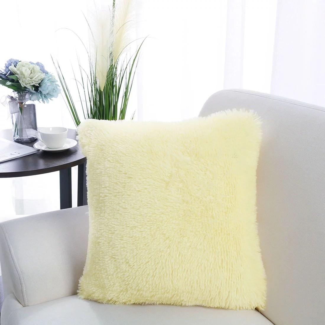 20 x20 throw pillow case faux fur fuzzy cushion cover light yellow