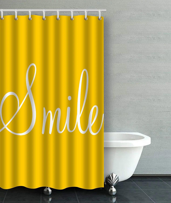 artjia smile sunshine yellow bathroom shower curtain 36x72 inches