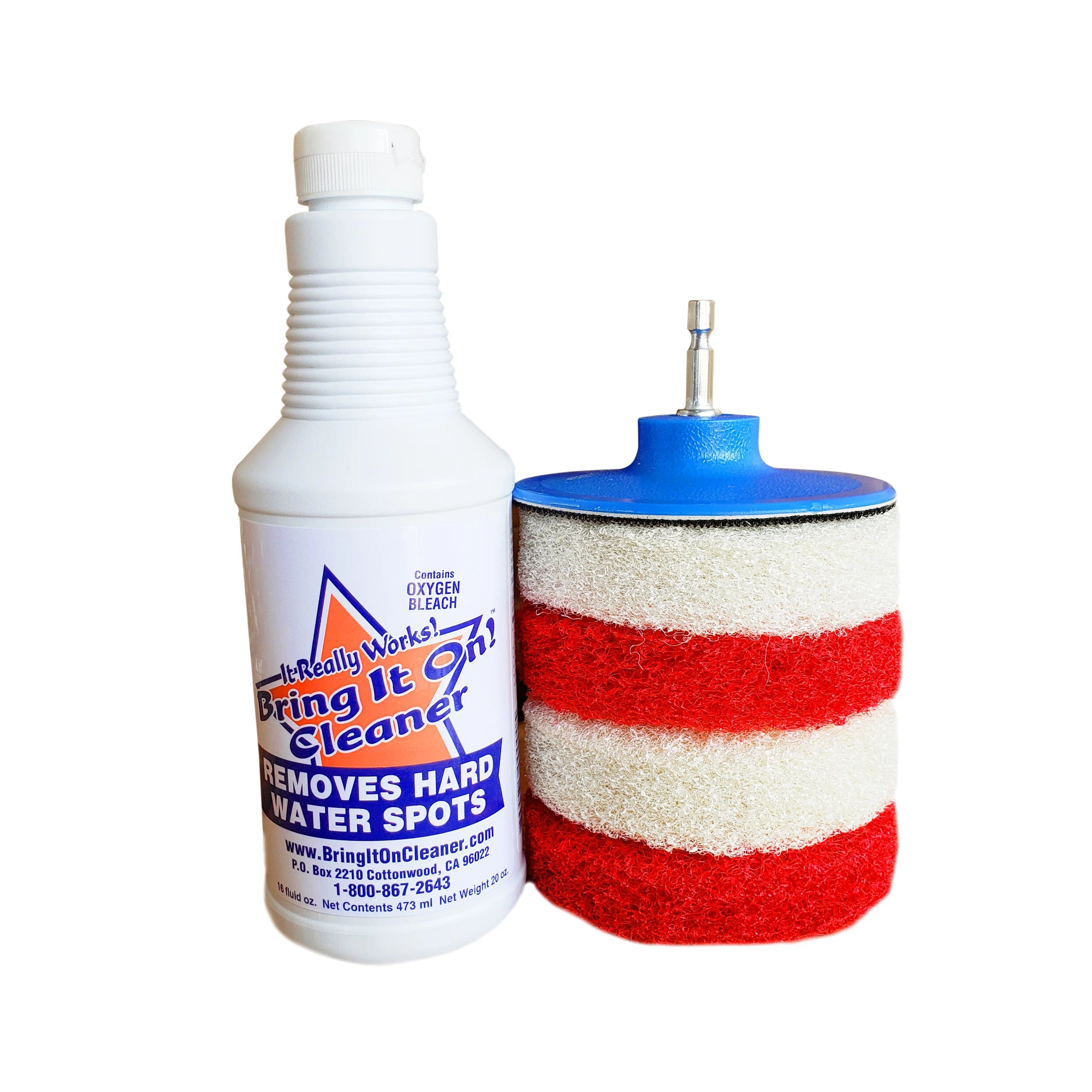 bring it on cleaner glass shower door cleaner mold and mildew remover clean hard water stain tile grout windows tubs plus scrubbing drill pads