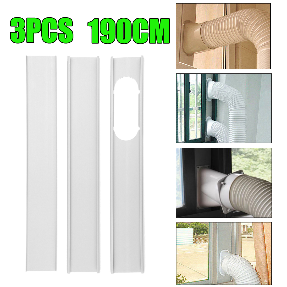 3pcs adjustable window slide kit plates drainage boards exhaust hose tube connector for portable air conditioner air cooler