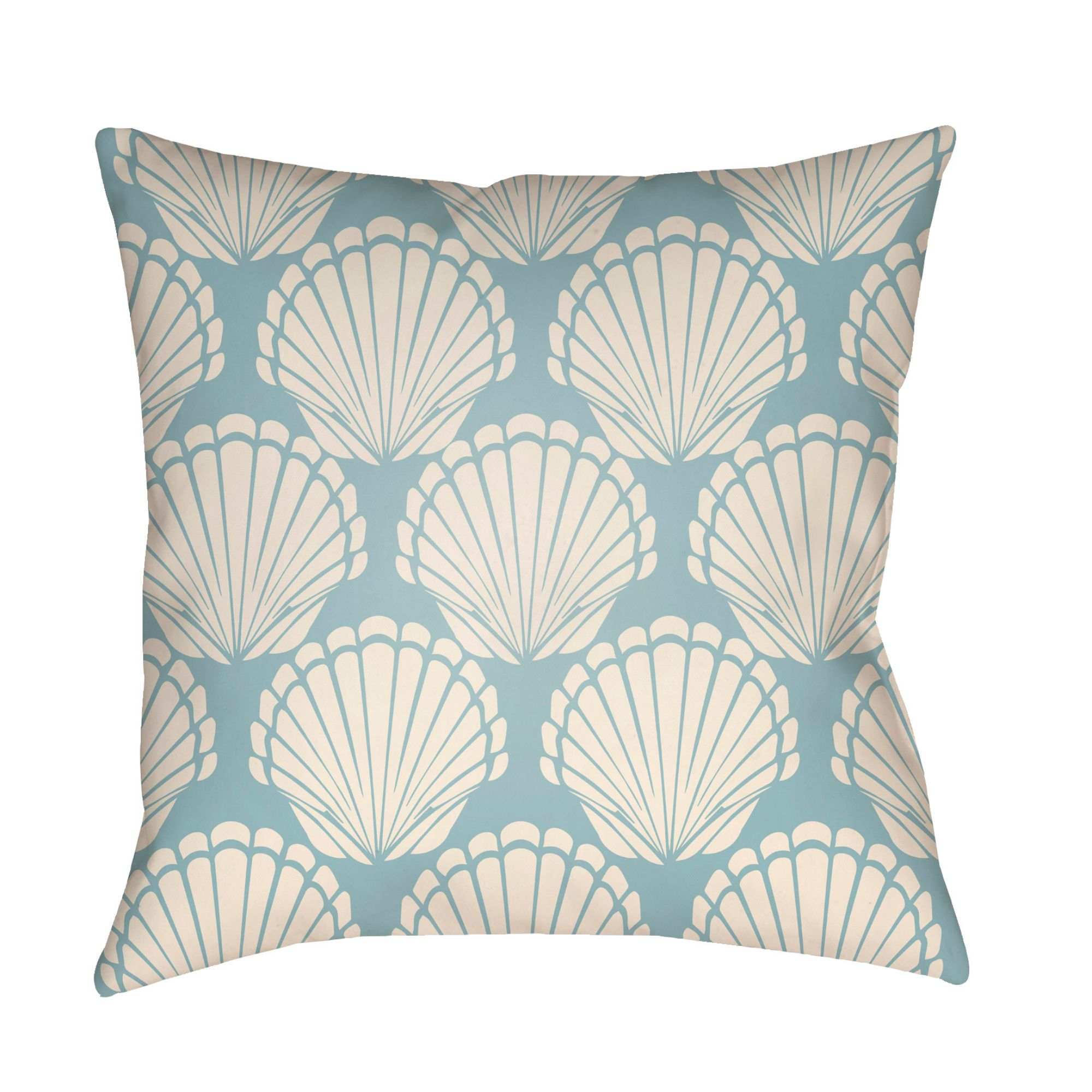 20 blue and white seashells printed throw pillow cover