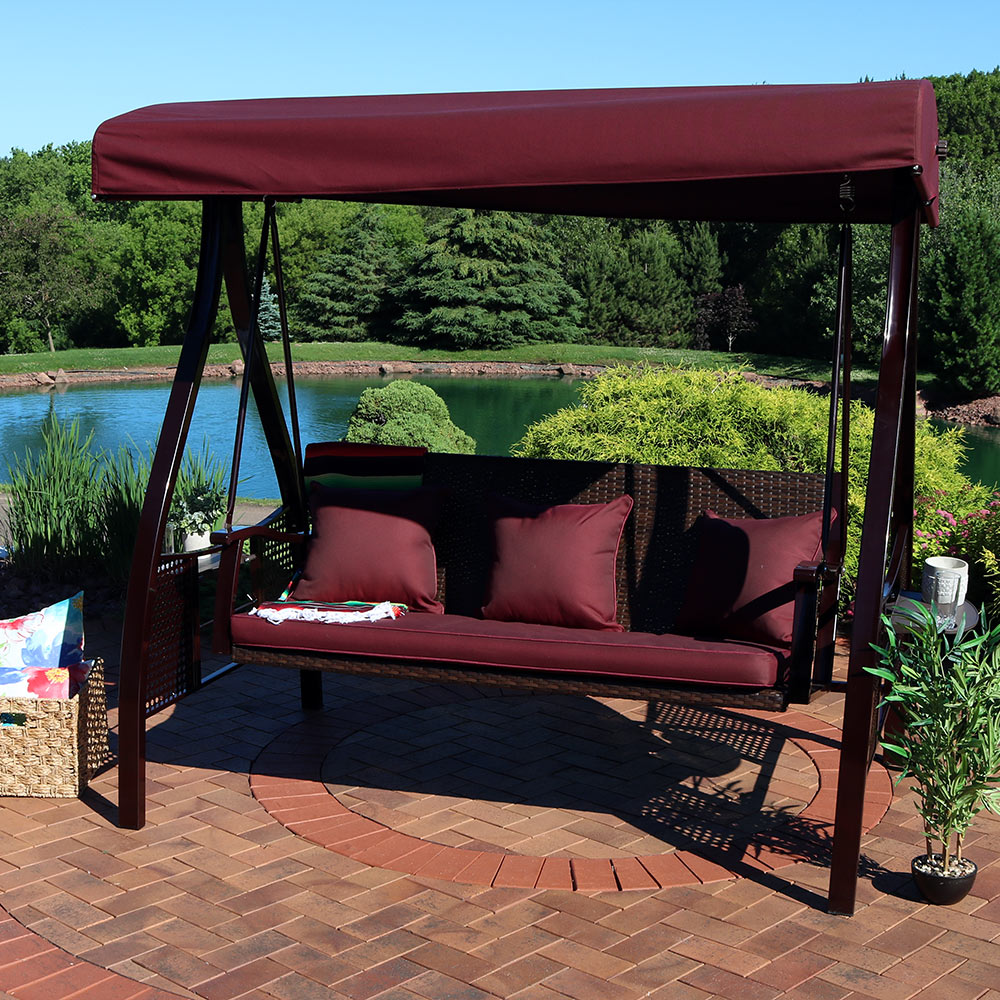 sunnydaze deluxe steel frame cushioned swing with side tables color options