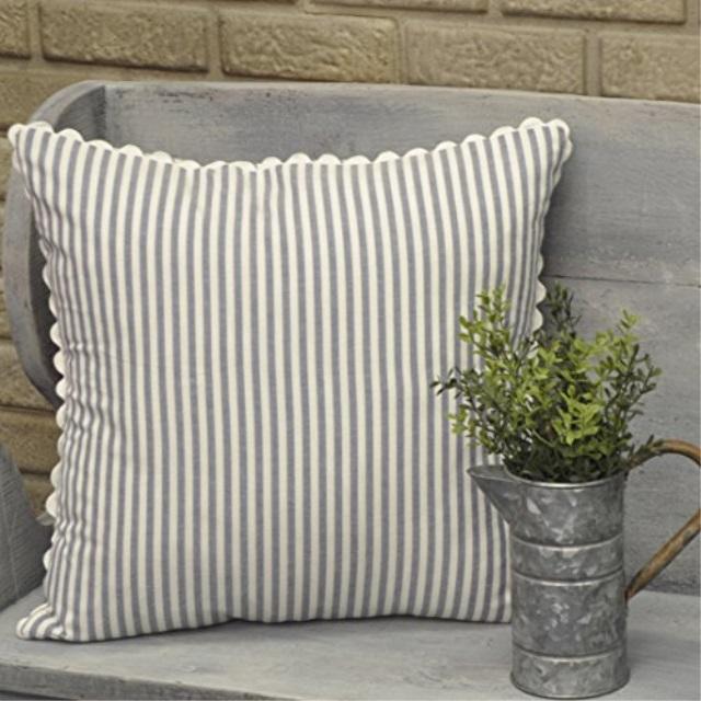 piper classics farmhouse ticking stripe pillow cover blue 18 x 18 decor accent wrick rack walmart com
