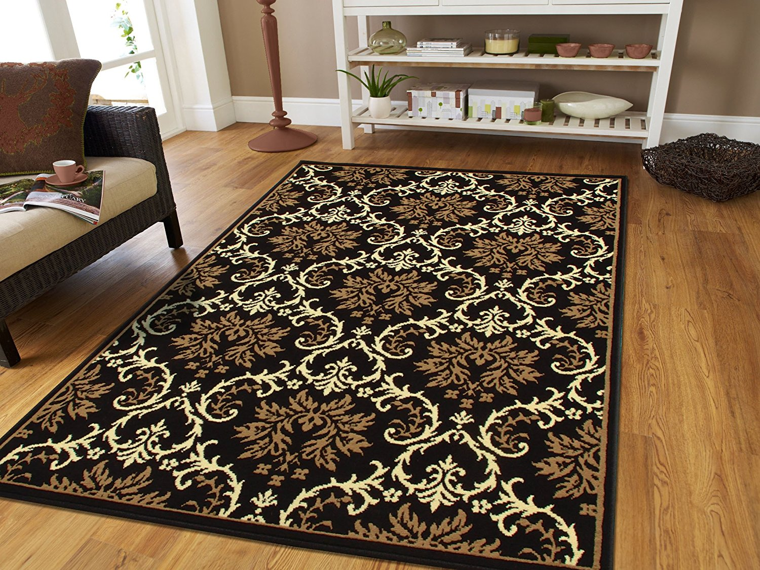 Area Rugs For Living Room Large 8x11 Modern Rug Black Beige Walmart Com