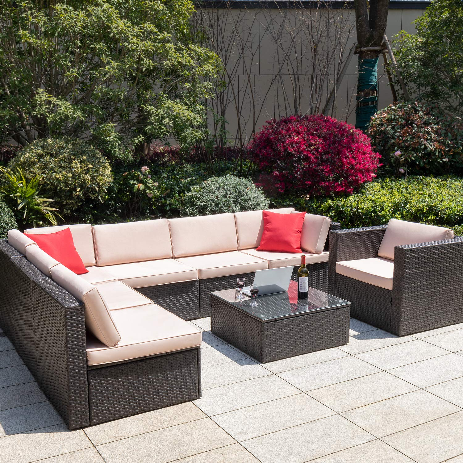 walnew 8 pieces outdoor patio furniture sofa set all weather pe rattan wicker sectional sets modern modular couch outside conversation set with thick