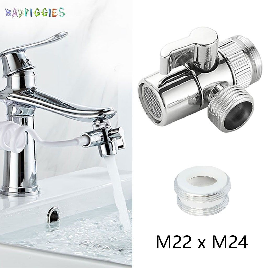 badpiggies faucet diverter sink faucet connector splitter valve to hose adapter for bathroom kitchen basin m22 x m24 outer thread walmart com