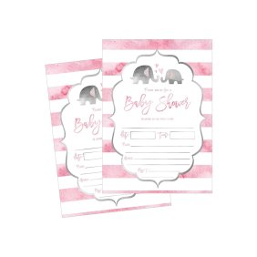 50 Fill In Fl Baby Shower Invitations Watercolor Pink Neutral Flower Blank Invites For