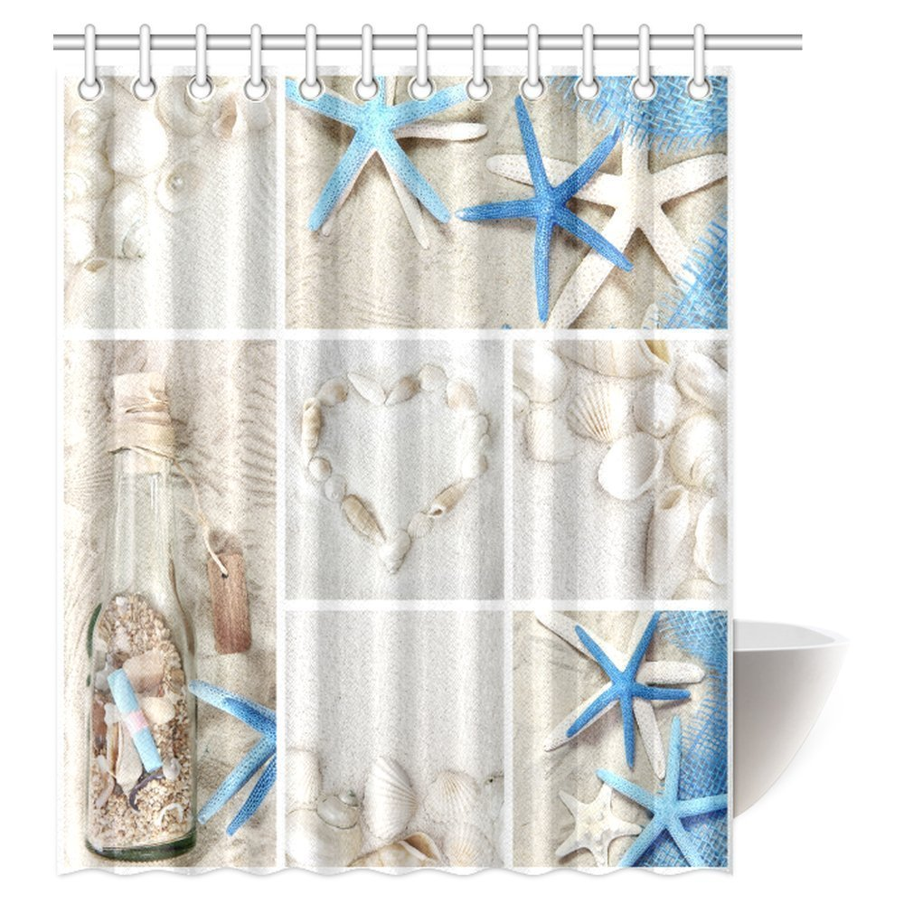 mypop collage of summer seashells decor shower curtain seacoast with sand colorful various seashells and starfish tropics aquatic wildlife theme