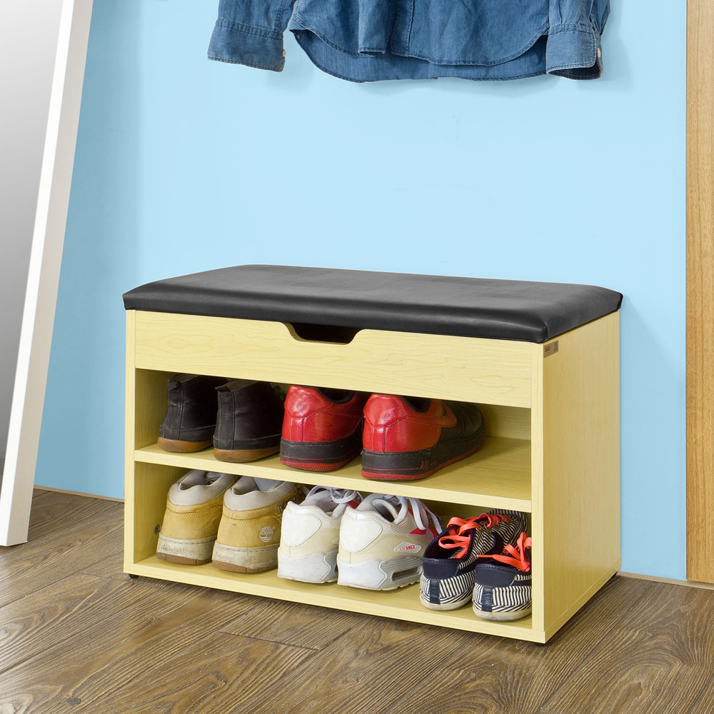 Sobuy Fsr25 N Wooden Shoe Cabinet 2 Tiers Shoe Storage