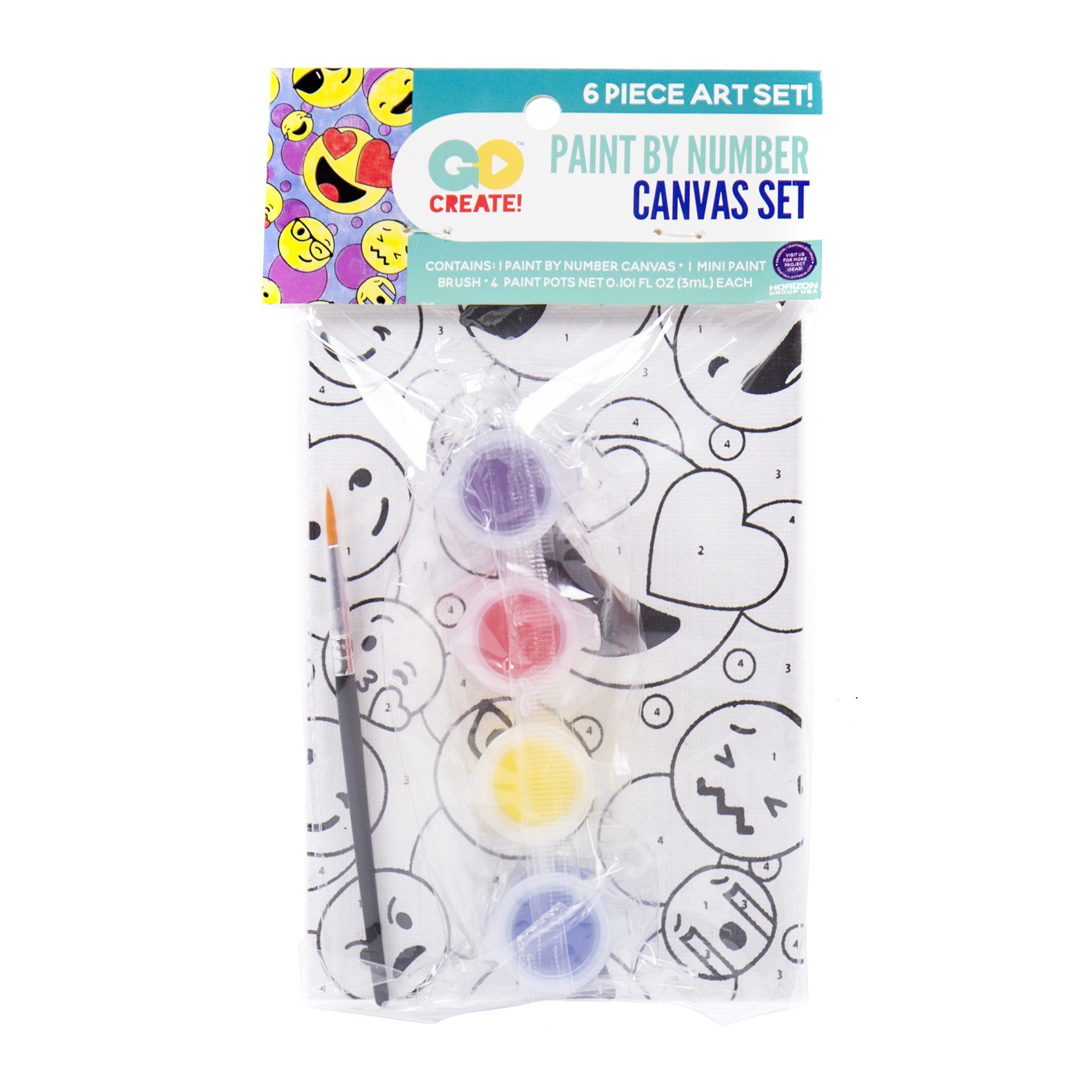 Go Create Paint Your Own Emoji Canvas Set 1 Each