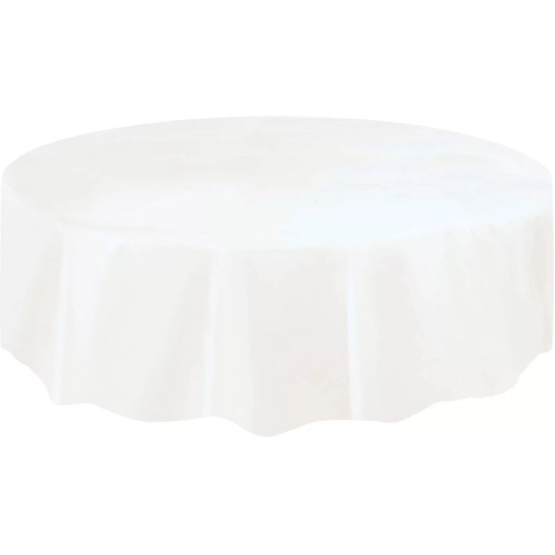 white plastic party tablecloth, round, 84in - walmart
