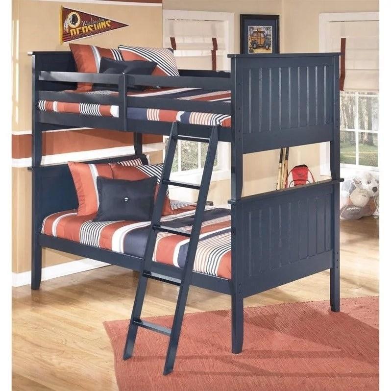 ashley furniture leo wood twin bunk bed in blue walmart com