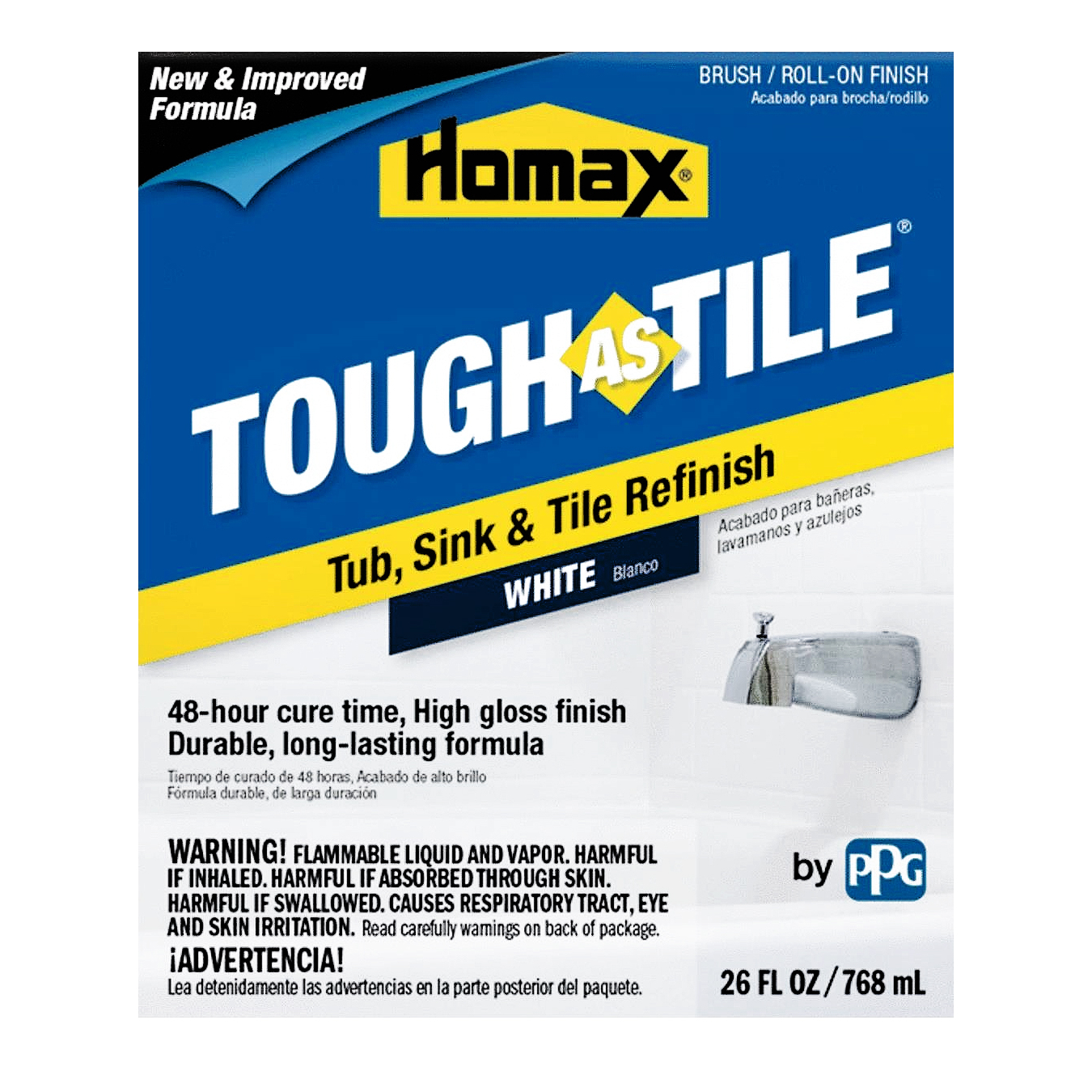 homax white tough as tile tub sink tile refinish brush on epoxy 26 ounces white walmart com