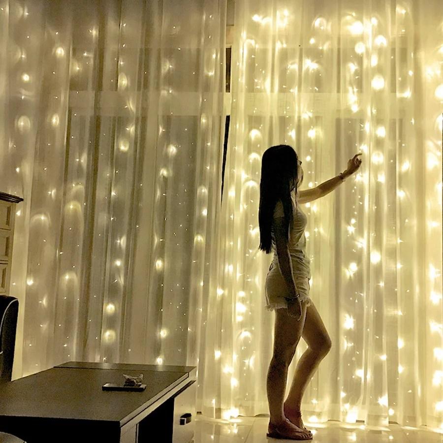 urhomepro 39 4 x 9 8ft bedroom string lights 1200 led string lights for dorm curtain string lights w 8 modes fairy lights decor for indoor