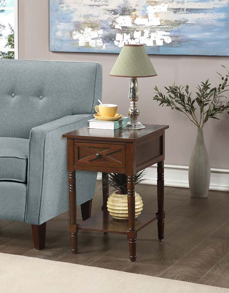 convenience concepts country oxford end table with charging station espresso