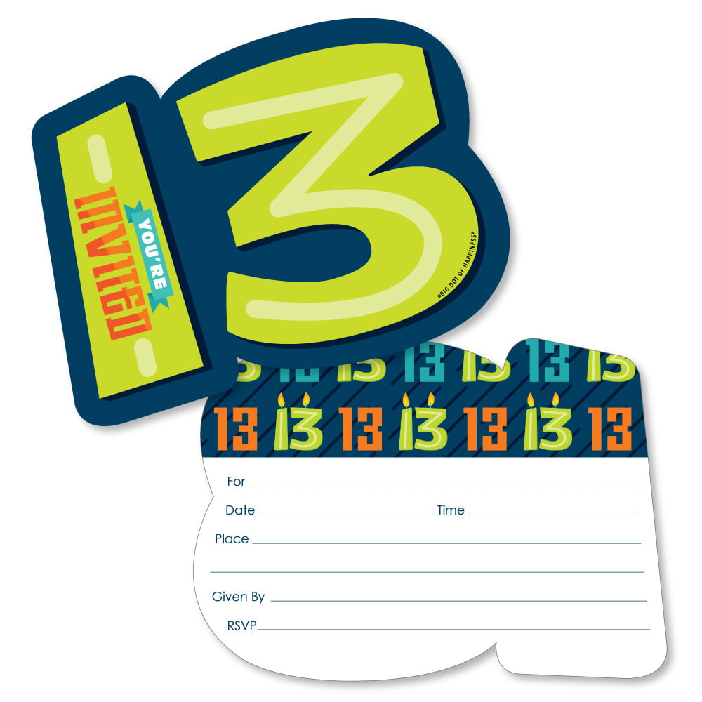 boy 13th birthday shaped fill in invitations official teenager birthday party invitation cards with envelopes set of 12 walmart com