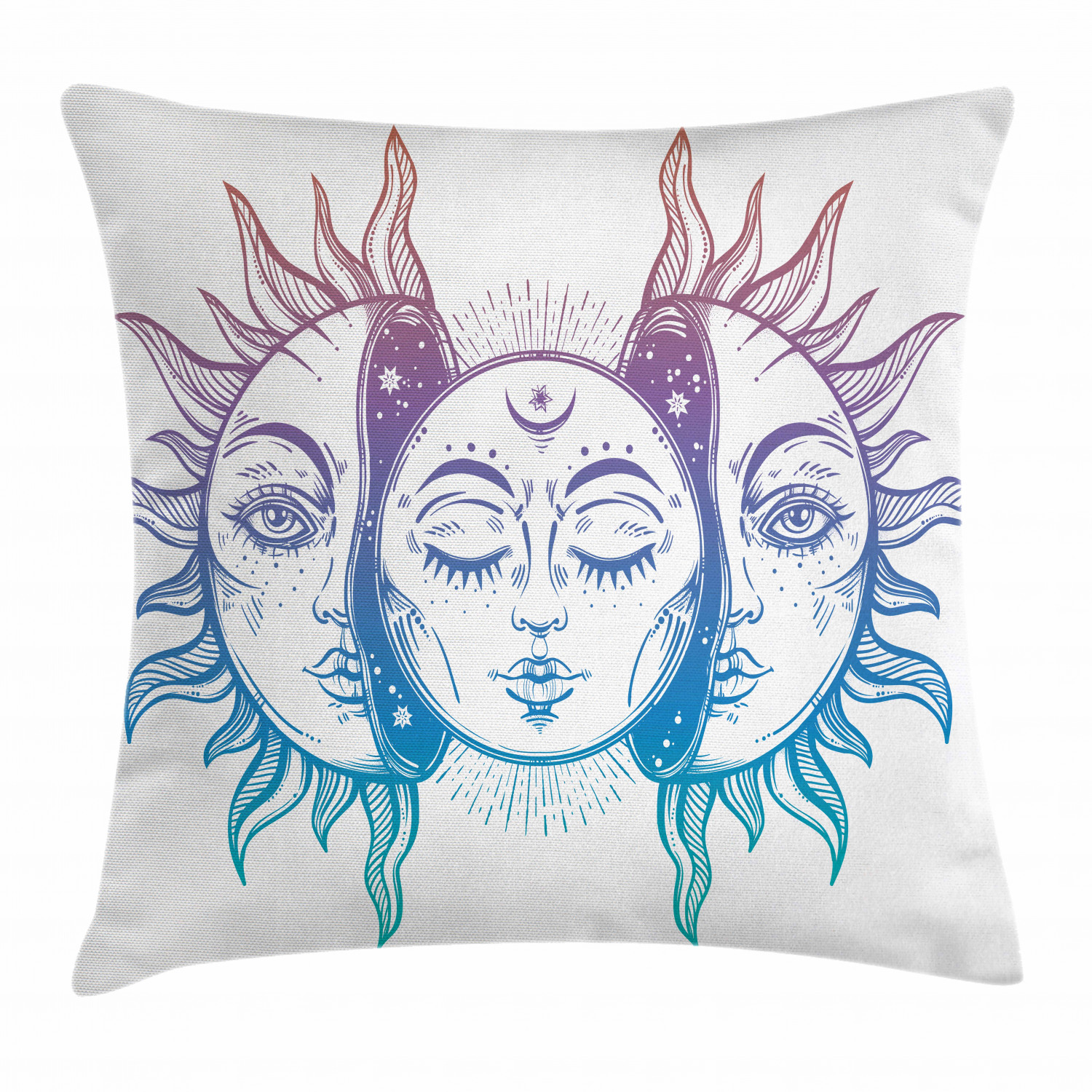 moon throw pillow cushion cover psychedelic representation heavenly bodies faces eastern oriental inspired image decorative square accent pillow