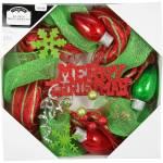 Holiday Time Christmas Decor 20 Red And Green Mesh Wreath Walmart Com Walmart Com