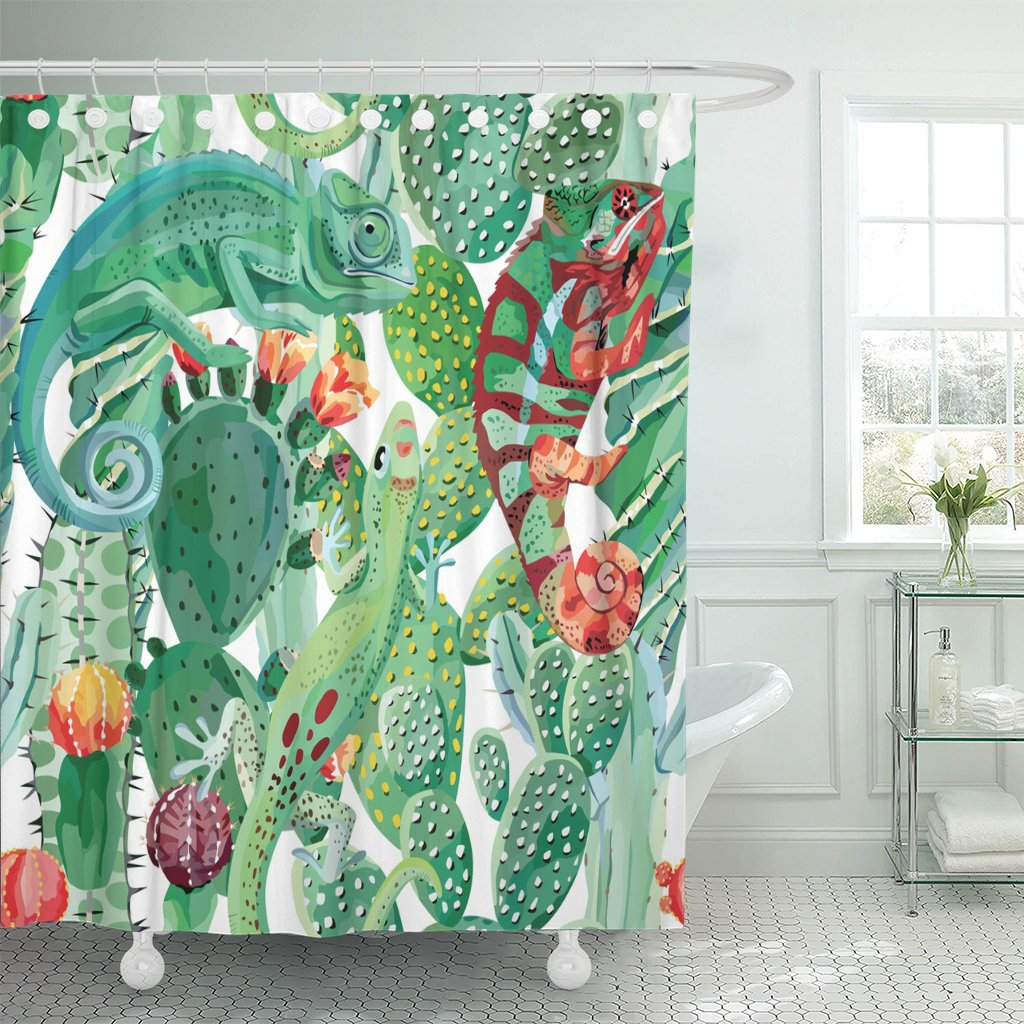 pknmt green pattern chameleon and cactus animal flower exotic jungle shower curtain 60x72 inches walmart com