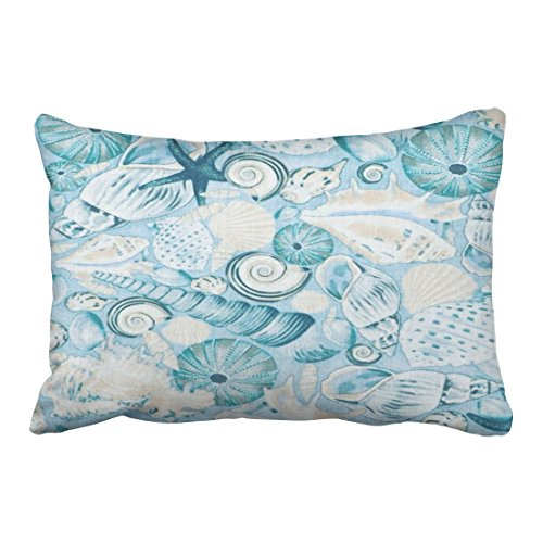 winhome rectangl throw pillow covers vintage nautical coastal blue sea shells print pillowcases polyester 20 x 30 inch with hidden zipper home sofa
