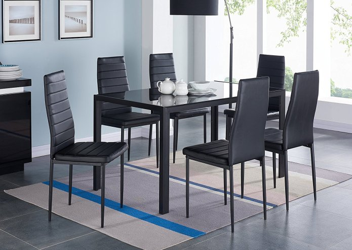 7 Piece Dining Set Tempered Glass Top Table And 6 Kitchen Room Hairs Placemat Walmart Com Walmart Com
