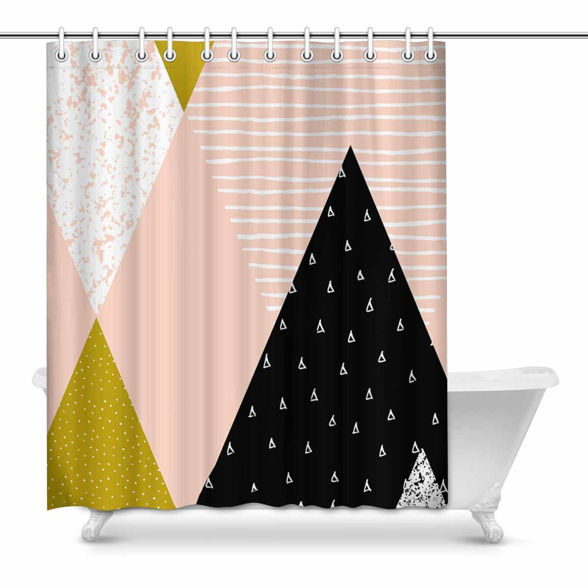 mkhert abstract geometric triangle composition in black white gold and pink house decor shower curtain for bathroom shower curtain set 60x72 inch