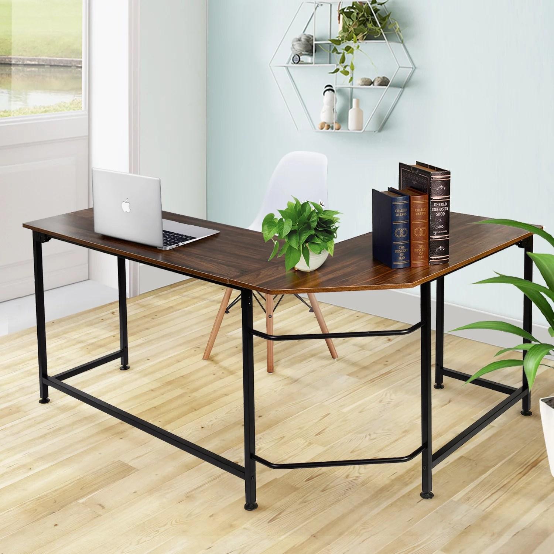 vecelo home office desk modern style l shaped corner computer desk