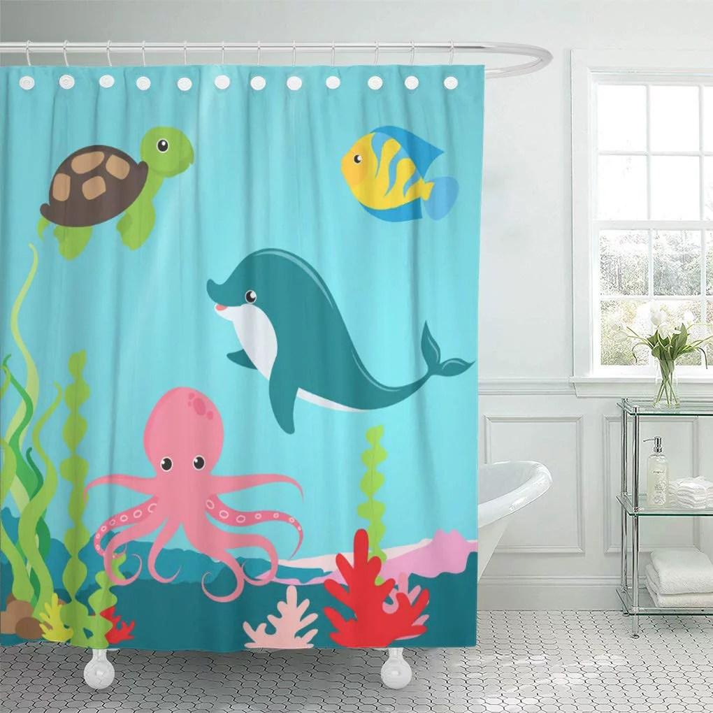 cynlon kids aquatic ocean life childrens octopus sea dolphin fish bathroom decor bath shower curtain 60x72 inch