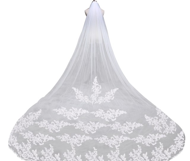 Cm Embroidery Lace Edge Bridal Wedding Veil Mantilla With Comb White