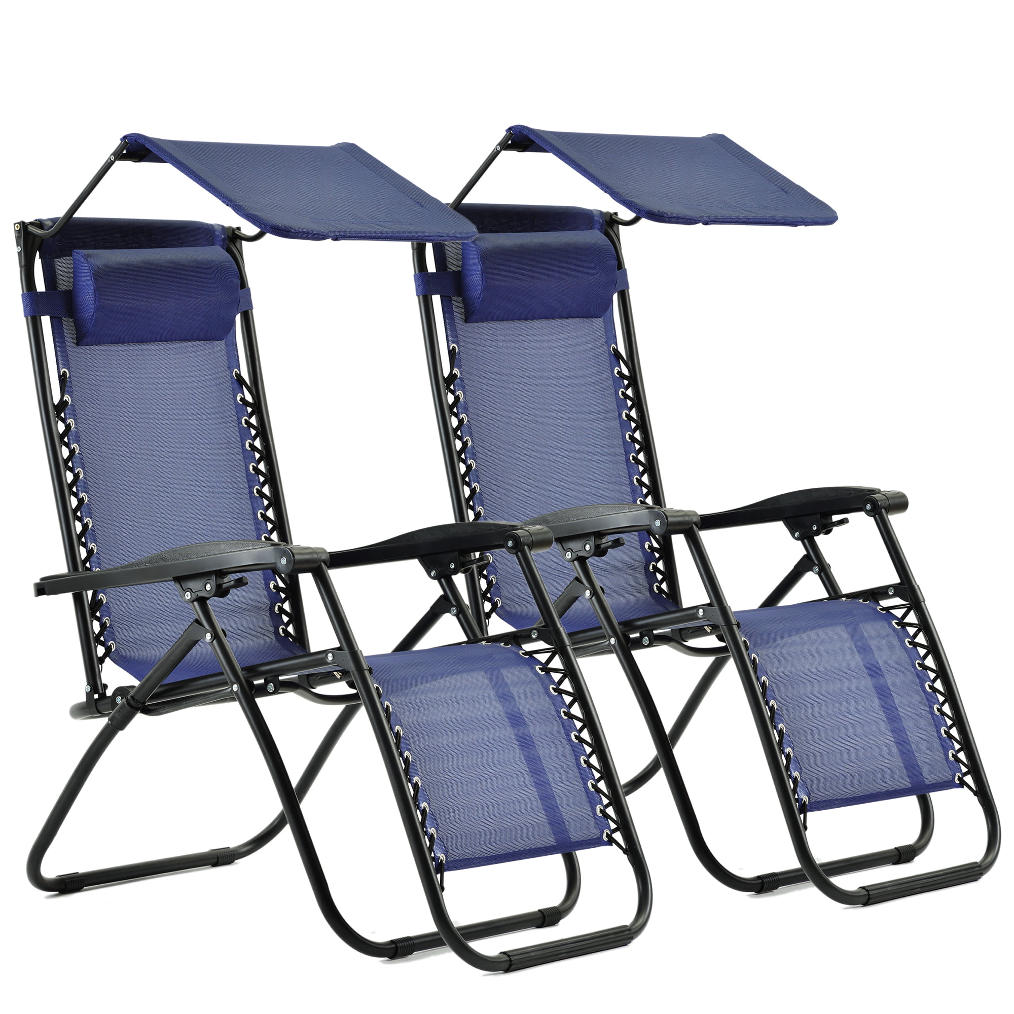beach lounge chairs zero gravity outdoor folding patio chairs with canopy shade adjustable patio reclining chairs with pillow for beach patio