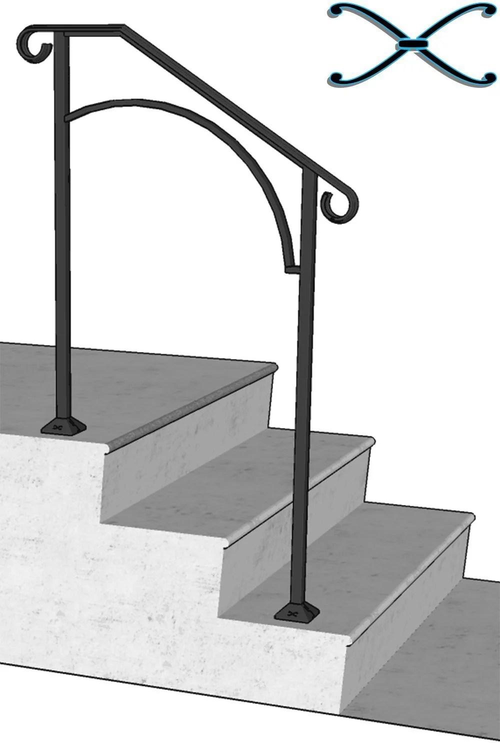Iron X Handrail Arch 2 Concrete Steps Walmart Com Walmart Com   Handrails For Concrete Steps   Deck Stair   Ada   Wood   7 Hand   Concrete Entrance