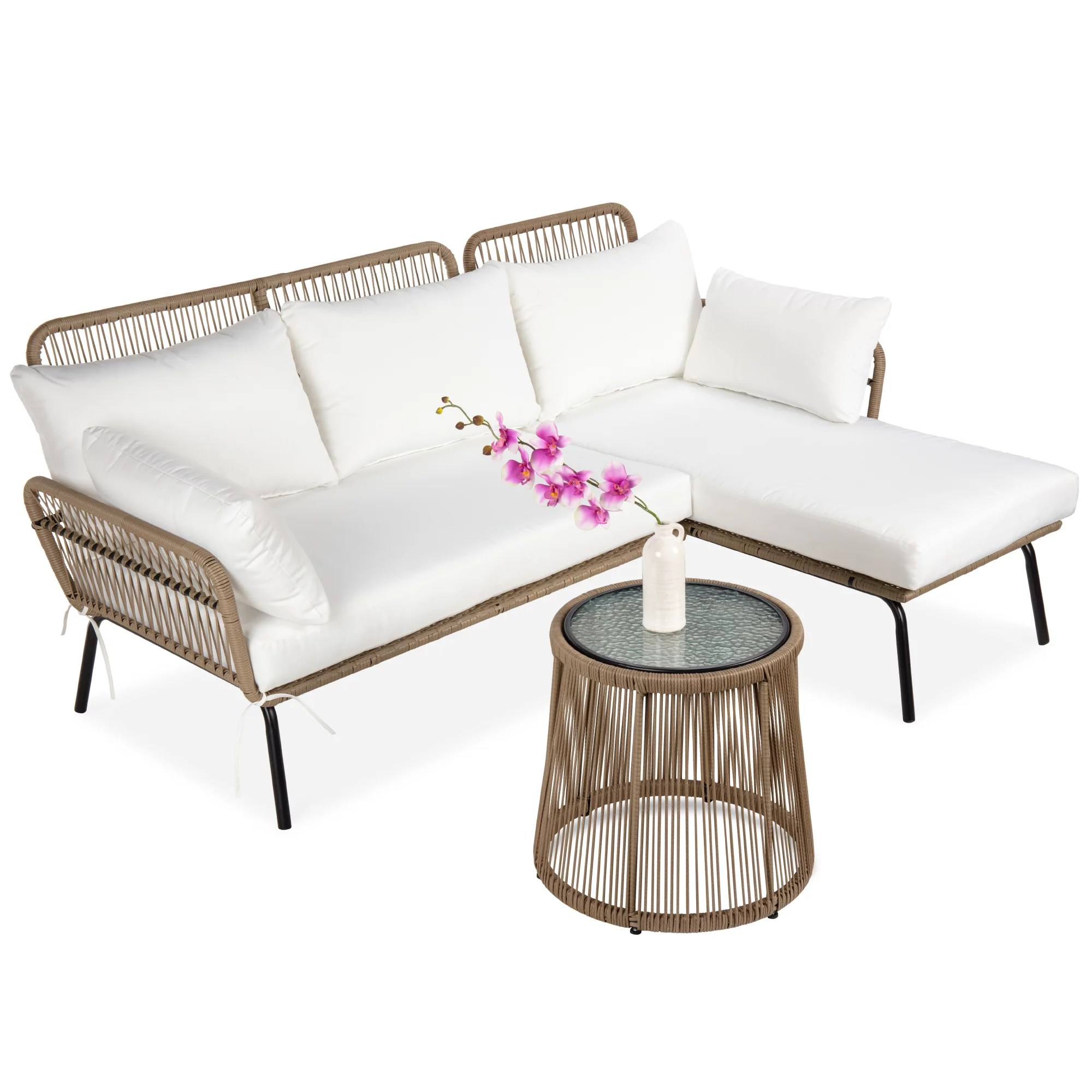 best choice products outdoor rope woven sectional patio furniture l shaped conversation set w cushions table white