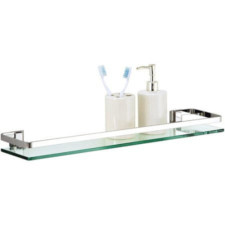 glass shelf with chrome finish and rail - walmart