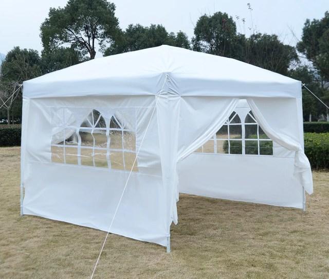 Apontus Outdoor Easy Pop Up Tent Cabana Canopy Gazebo With Walls  White Walmart Com